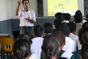Kshitij conducting a session on giving an insight to the students on Career opportunities
