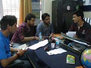 Yashtwant Panwar, Jayprakash Panwar, Ashish Uniyal and Madhav Prasad Joshi in their office