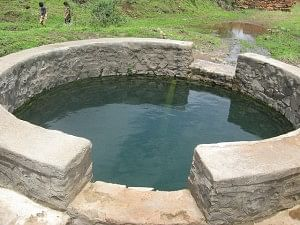 Normally empty during the summer months, this well is full of water after the showers.