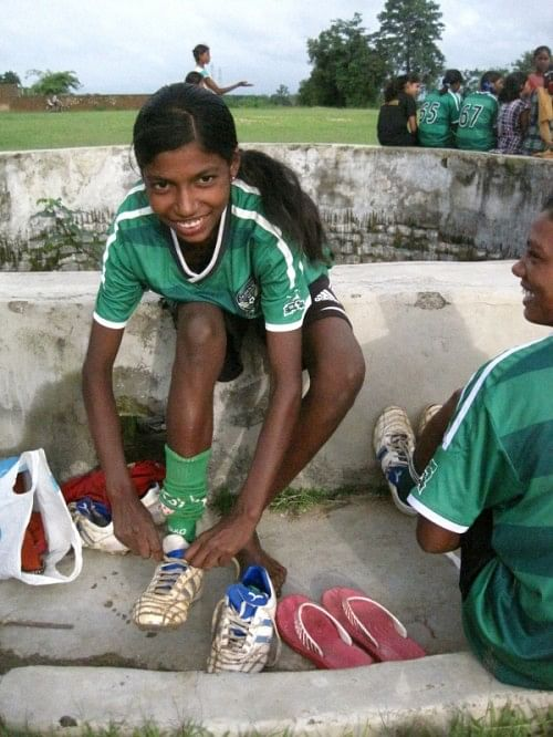 The girls who had never played outside of their village, at a practice session on Thursday in Hutup village in Ormanjhi