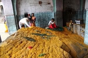 A mountain of turmeric powder