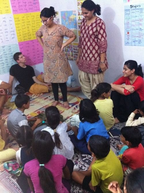 A story telling session by volunteers