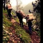 Dedicated and strong team of porters carrying supplies to Bhatwari. the mission would be impossible without them