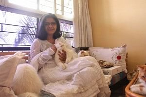 Rehana Mohammed Shakir with one of her beloved cats