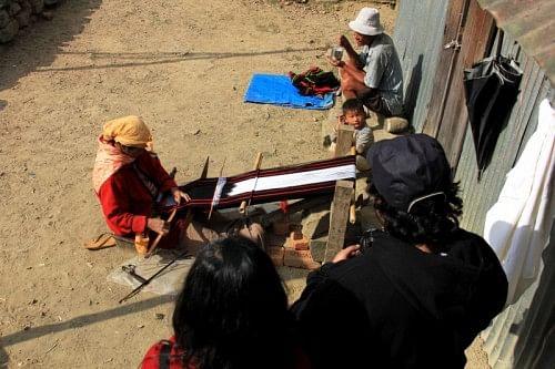 Weaving in a Naga village