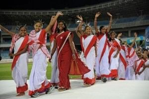 On July 13, 18 tribal girls from Ormanjhi village in Jharkhand cheered in traditional attire after being placed third in the Gasteiz Cup in Spain (Photo Courtesy: The Hindu)