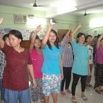 Refugee women from Myanmar at a self defence training given by the Delhi Police. (Credit: UNHCR/N.Bose)