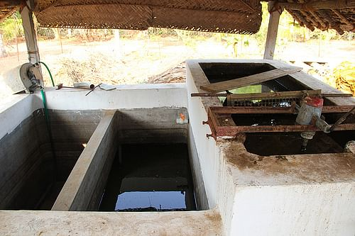 4-tank system used to ferment and filter cow dung manure