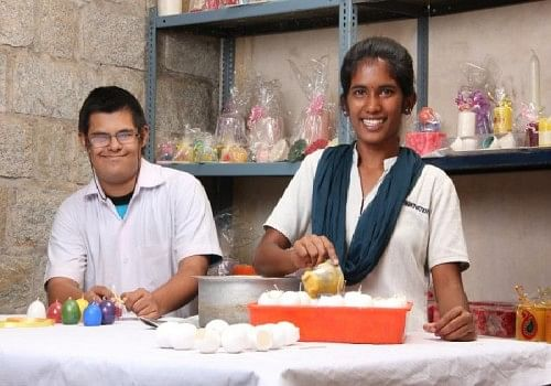 The Candle-making unit is especially busy during Diwali and other festivals