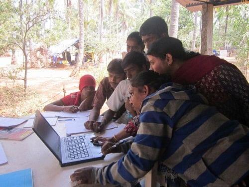 A computer class in progress