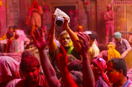 Photographers from around the world gather in Vrindavan to capture this carnival of colours