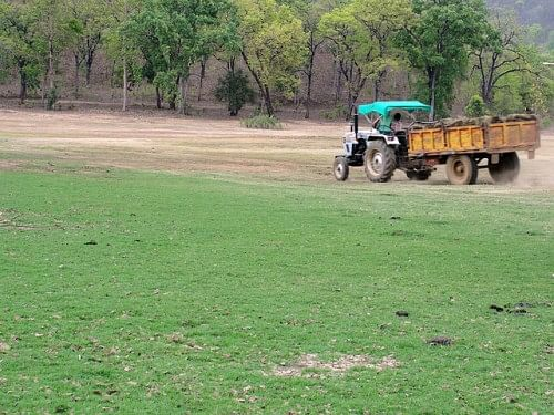 A tractor taking the silt from the malguzari tanks to the nearby farm lands.