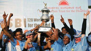 The Indian Blind Cricket Team after winning the T20 World Cup 2012
