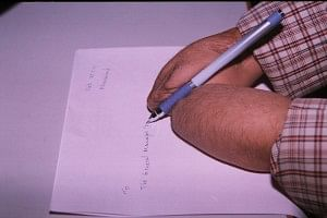 Having mastered the art of writing without fingers, he has formed a beautiful handwriting nonetheless!