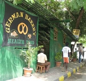 The entrance to the well-known German bakery in Koregaon Park