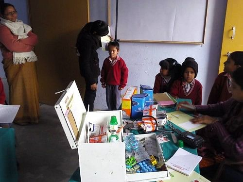 Sevamob runs primary health camps in several schools in Uttar Pradesh
