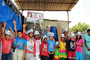 Meera Sanyal, 55, on the campaign trail in her constituency of South Mumbai. Sanyal, a Harvard alumnus, has had a distinguished banking career.