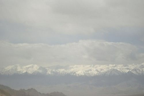 Rows of snow-capped mountains.
