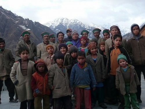 Kiran Patel with locals during his reconnaissance, Purola, Uttarakhand