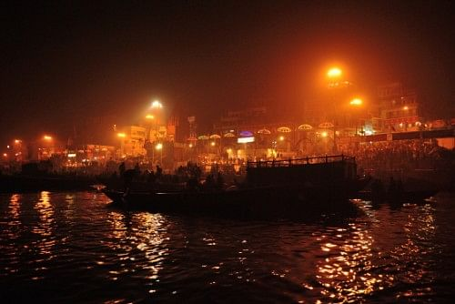 Watching the evening aarti from the river, at the Dasashwamedh Ghat.