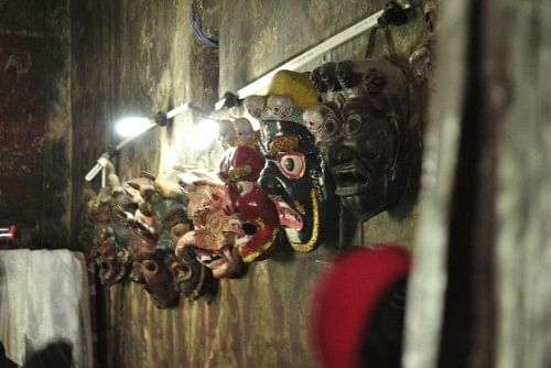 Masks on display at the Kali Mata Mandir, which shares the premises with Spituk. The masks are in the inner sanctum where the idols of gods are, and all their faces are covered with cloths because mortals are only allowed to see them on special occasions.