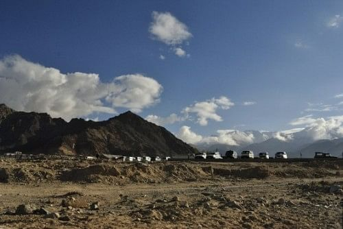 Vehicles waiting to acquaint visitors to Leh with a different way of life.