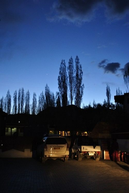 Evening at the hotel. Poplar and widow trees are the only form of vegetation around. They form the perfect foreground for a starry night, though.