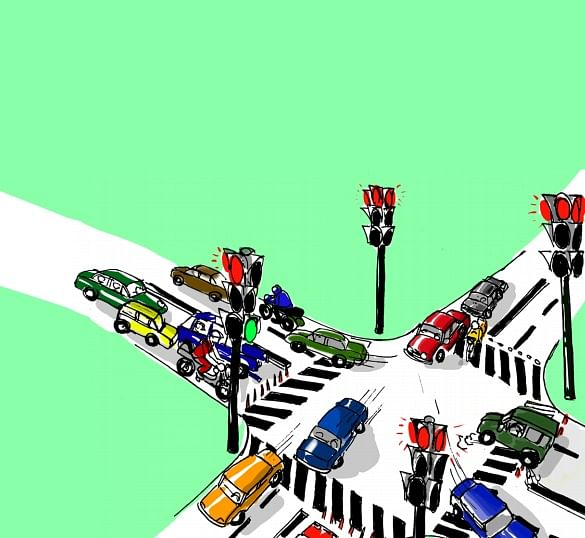 Automatic spike system near traffic