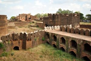 A view of a part of the fort from Rangeen Mahal.