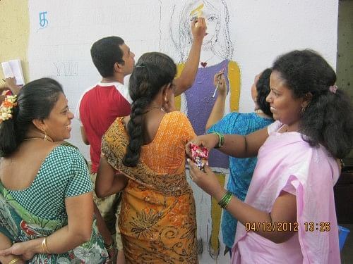 Many women come together for trainings and activities by SNEHA.