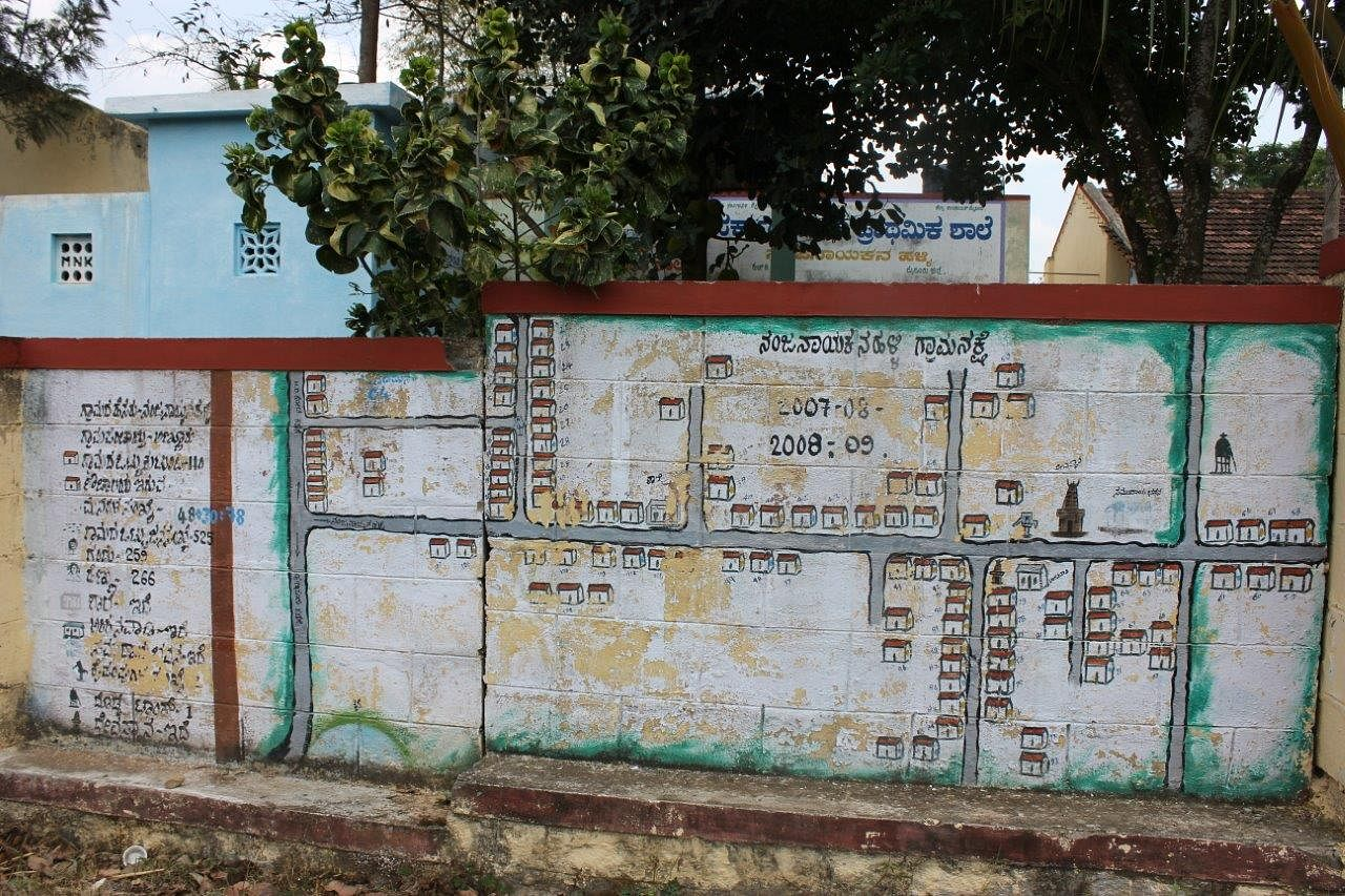 A map of the entire village stating the number of houses, number of males and females, number of houses that have built toilets. This map outside the school wall has played a pivotal role in ensuring all houses build toilets.