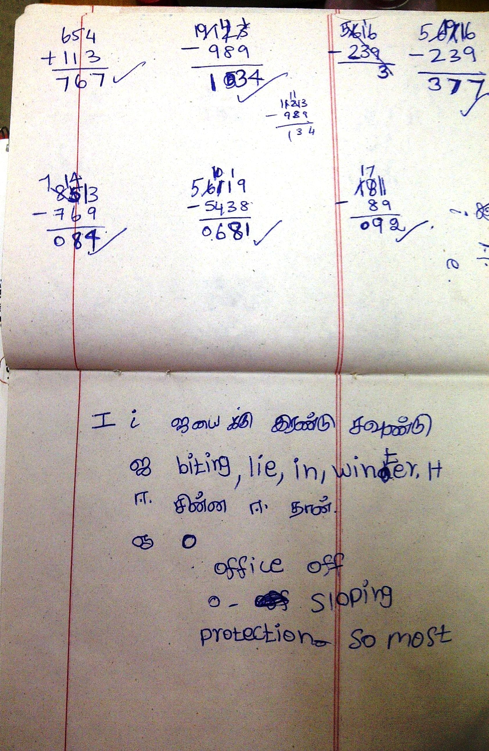A look into Kani's notebook. (Credit: Kirthi Jayakumar\WFS)