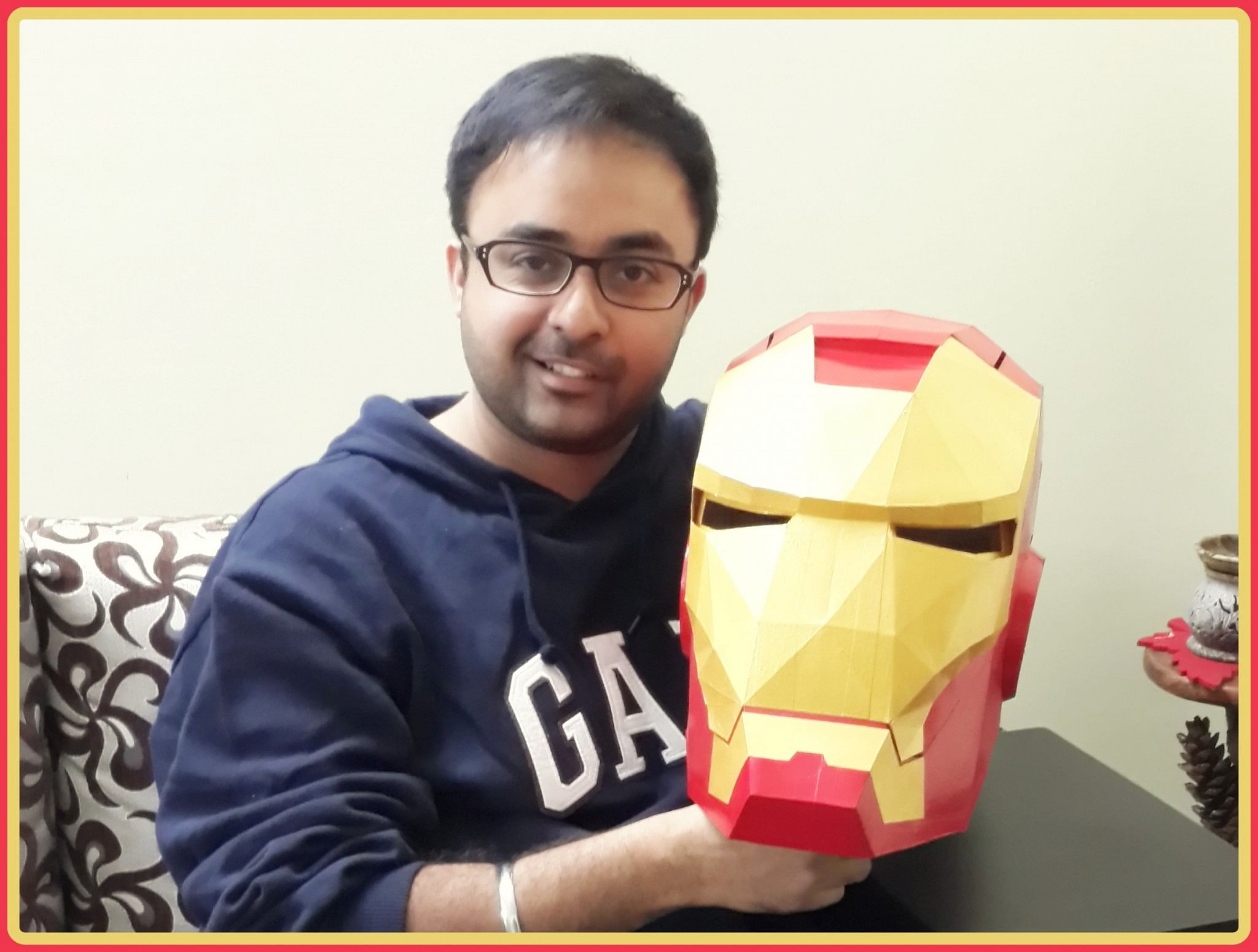 Atamjeet Singh with the Iron Man helmet.