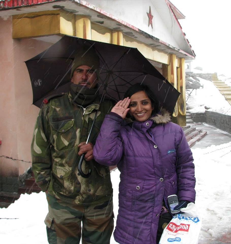 Alka at Nathula Pass India-China Border in Sikkim.