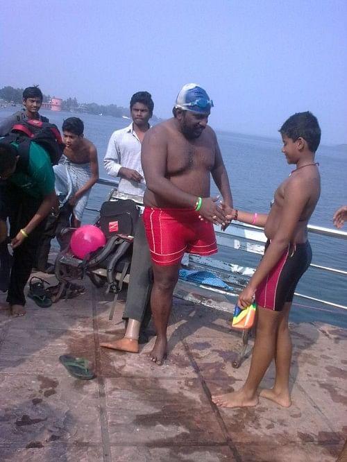 Srinivas Naidu, disabled swimmer