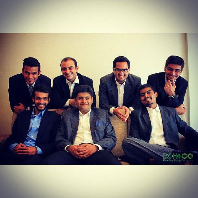 The team. Top row left to right: Chirag Tekchandaney, Jahan Peston Jamas, Sanvar Oberoi, Delzaad Deolaliwala. Bottom row left to right: Yash Kotak, Avnish Pandya, Sumit Shah.