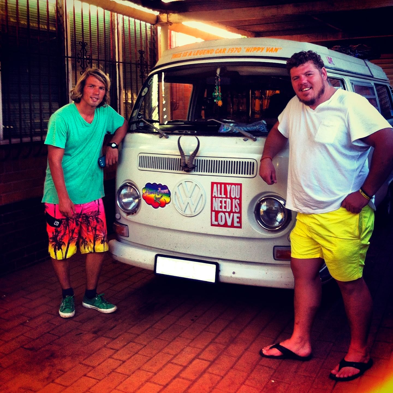 Jaco (left) with his beloved VW Camper van