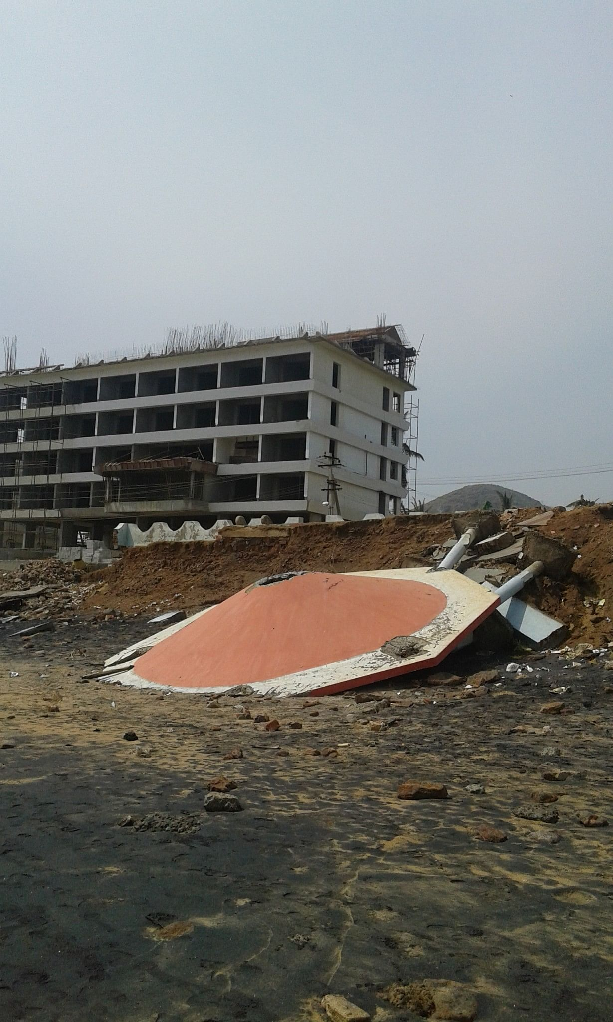 One of the small buildings next to the beach in Vishakhapatnam that was destroyed.