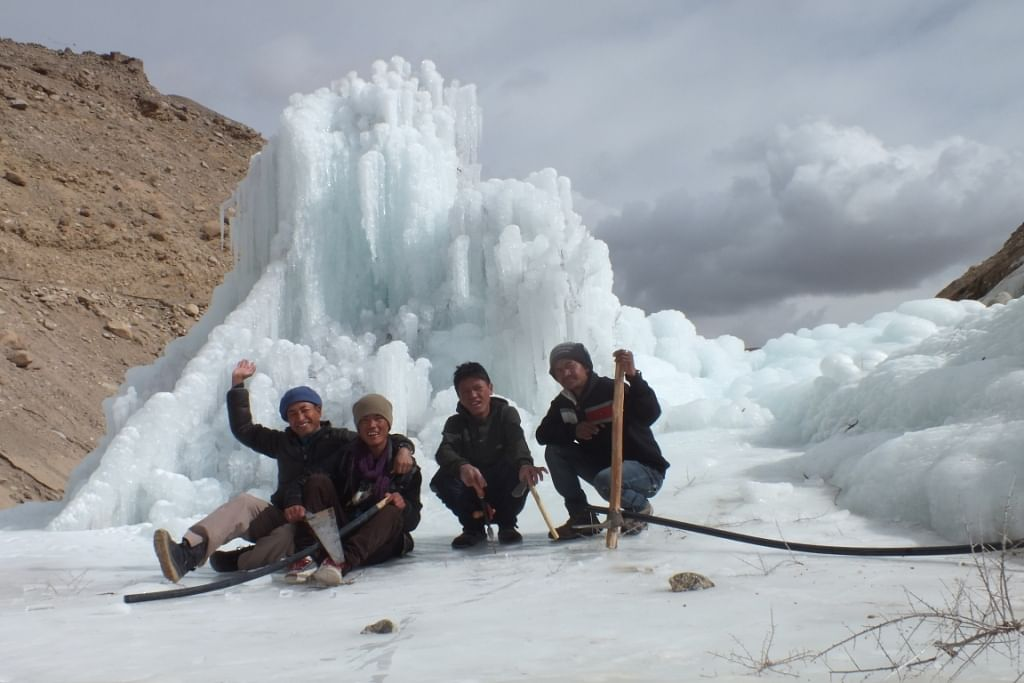 Sonam's team in front of the Stupa.