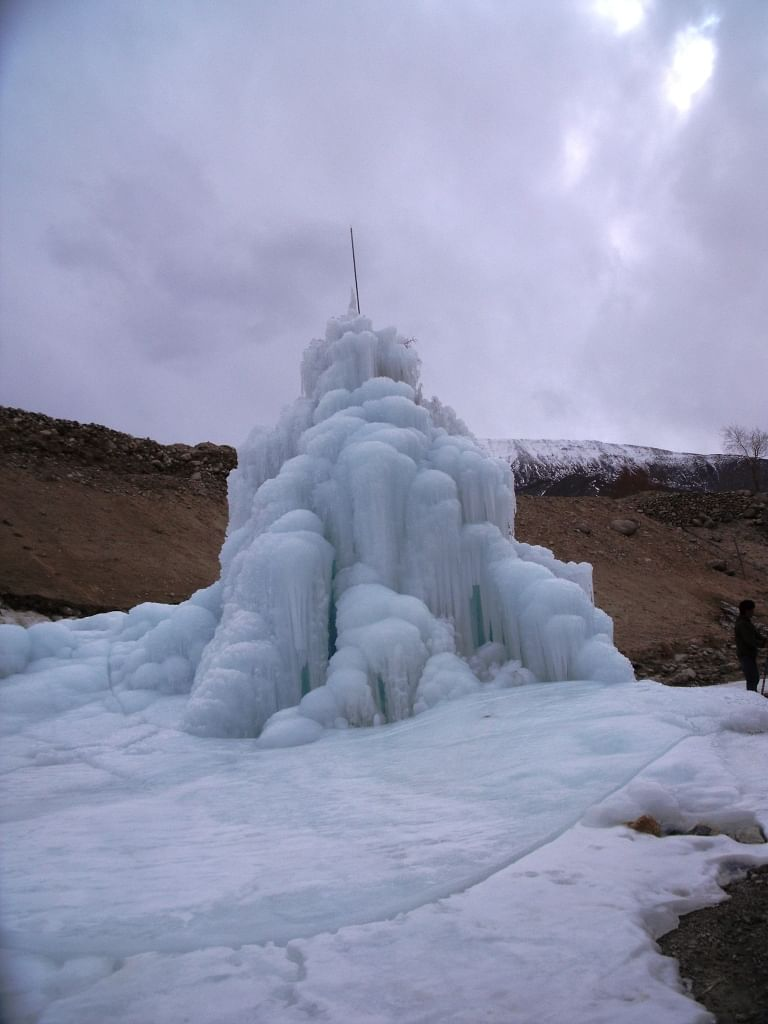 This is how a regular ice stupa looks like.