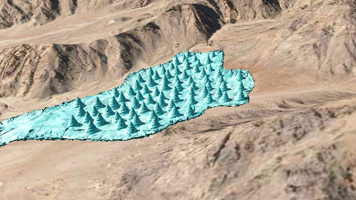 Artist's impression of the final stage of the Ice Stupa field near the monastery.