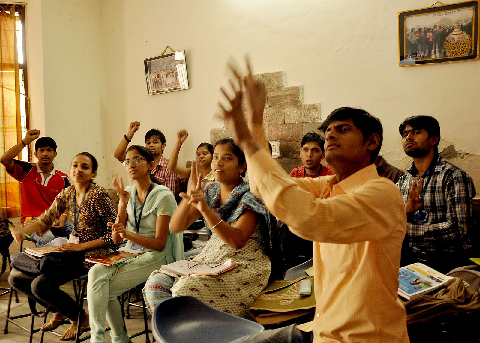 Students of Noida Deaf Society attending a class.