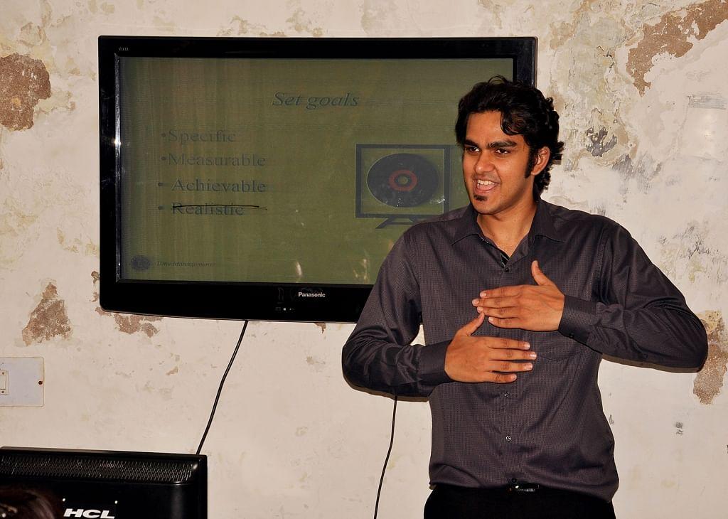A teacher at the Noida Deaf Society during the class.