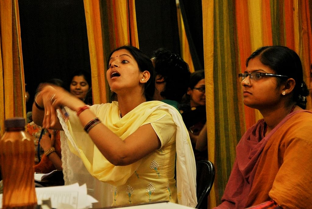 Students of Noida Deaf Society interacting during the class.