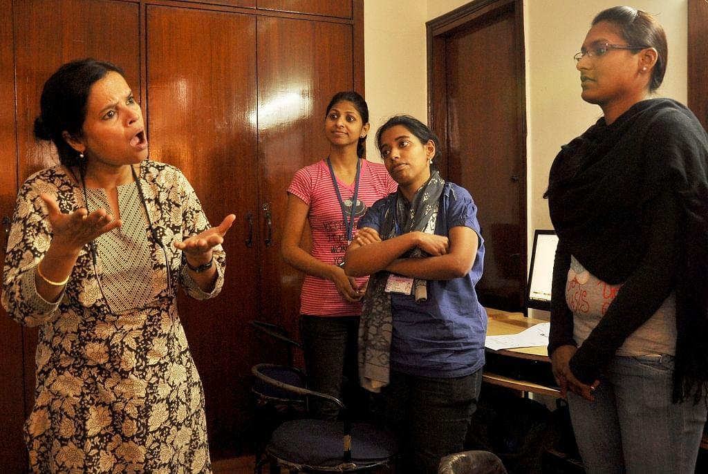Ruma Roka of Noida Deaf Society with the students during a class.