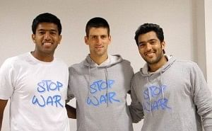 Aisam with Novak Djokovic and Rohan Bopanna