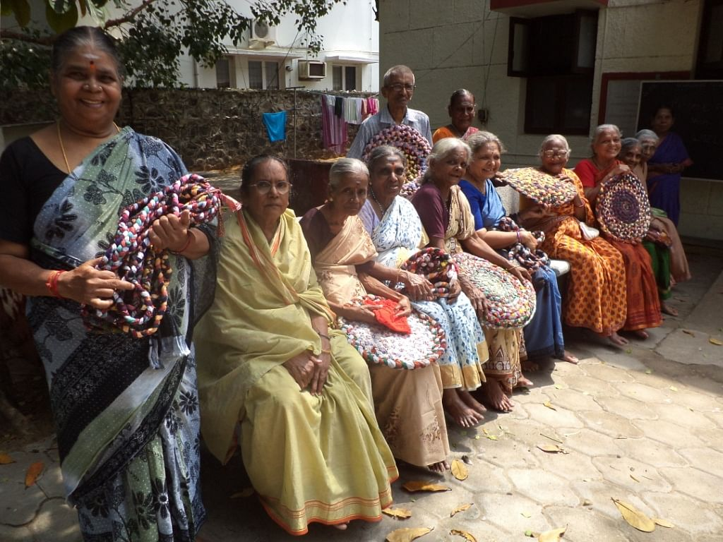 These wonder grannies are using their incredible crafting skills to make lovely rugs, mats and other such items from old, recycled scraps of clothing. (Credit: Hema Vijay\WFS)