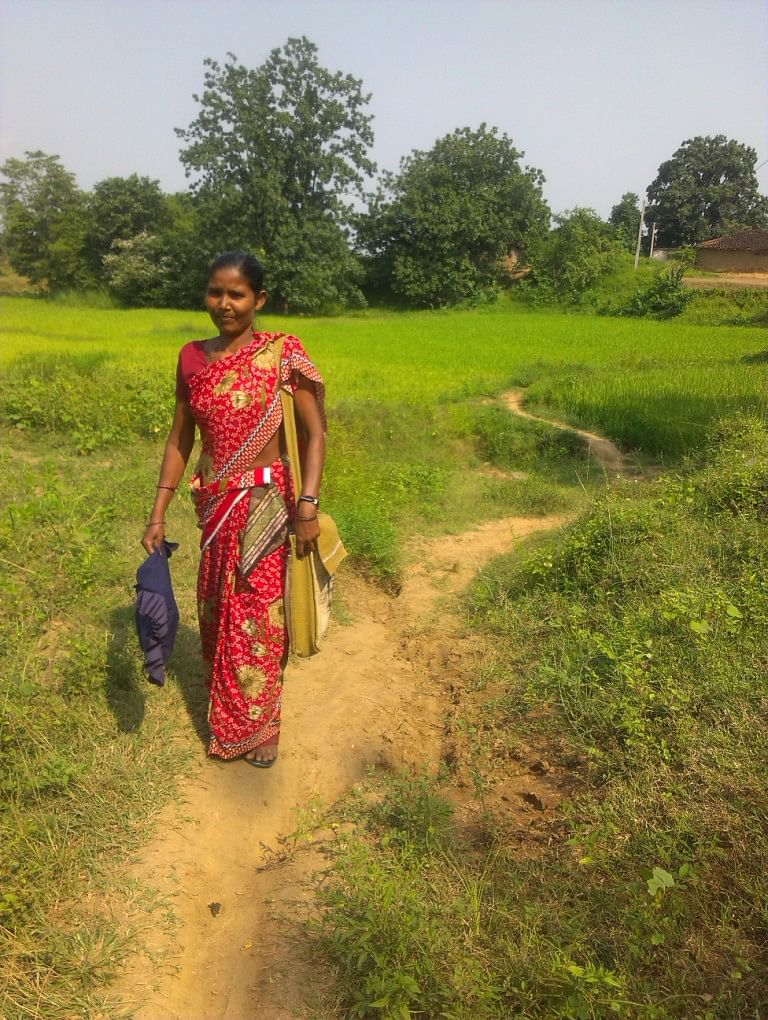 Anna Kujur, 47, from Sunajor village has spent nearly a decade spreading awareness among the forest-dwelling communities in the region about their legitimate claims on forest resources. (Credit: Sarada Lahangir/WFS)