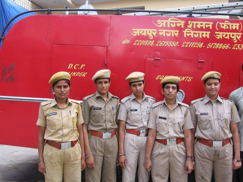 Stationed in Jaipur, (from left) Sunita, Manoj, Nirma, Sita and Nirmala are five of the 155 female fire fighters recruited by the Rajasthan government this year. (Credit: Abha Sharma\WFS)
