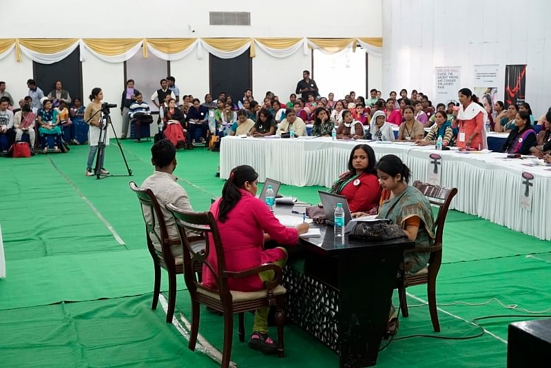 "The Women's Parliament, the first of its kind in India, was organised in Delhi to compel ""real Parliamentarians"" to sit up and take notice of women's issues and their voices. (Credit: Taru Bahl\WFS)"